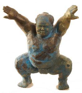 Sumoringer-Bronze-blaue-Figur