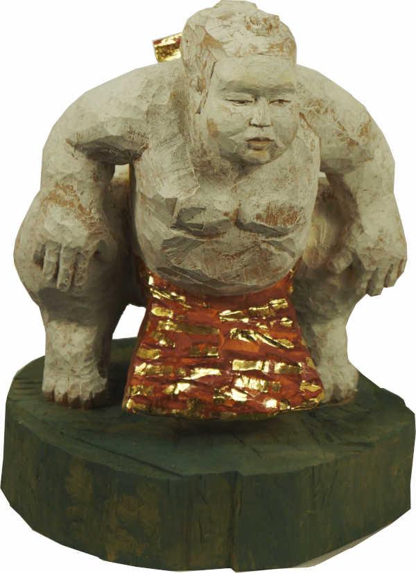 Sumoringer-Holz-Gold-Figur