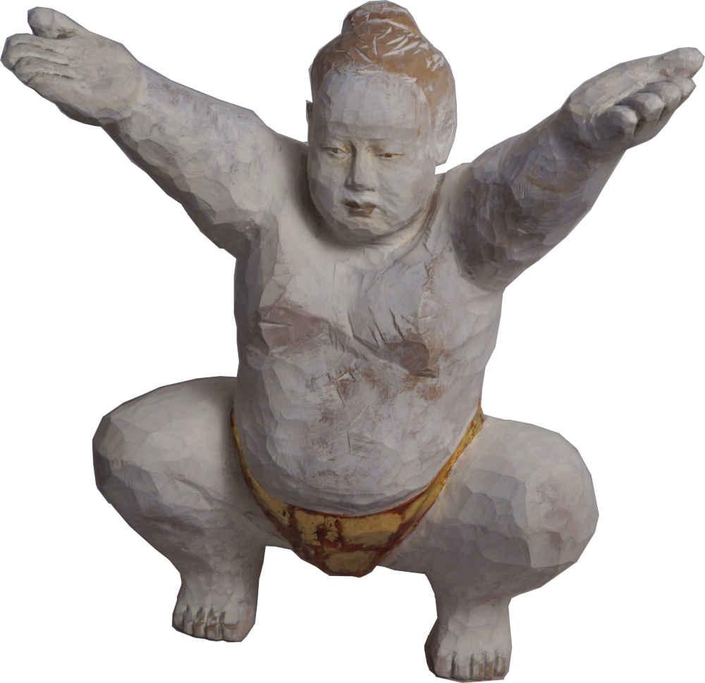 Sumoringer-Holz-vergoldet-Figur
