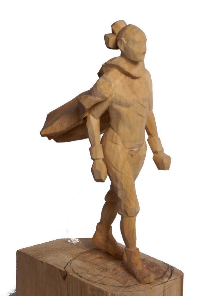 Superheldin-Rey-figur-Holz